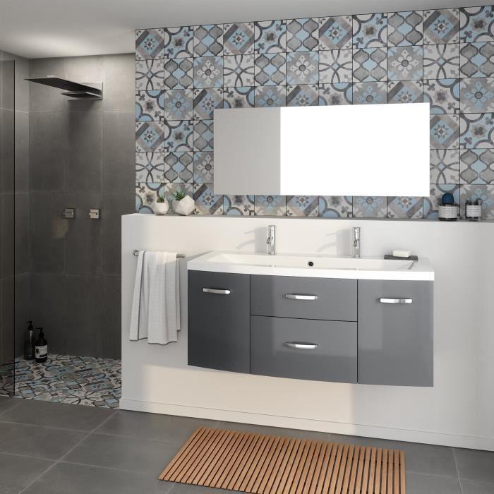 Meuble de salle de bain 1 vasque 2 robinet 120 cm