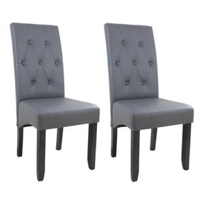 CHAISE CUBA Lot de 2 chaises de salle à manger - Simili g