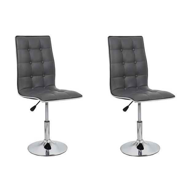 Leaf Lot De 2 Chaises De Salle A Manger Simili Gris Contemporain