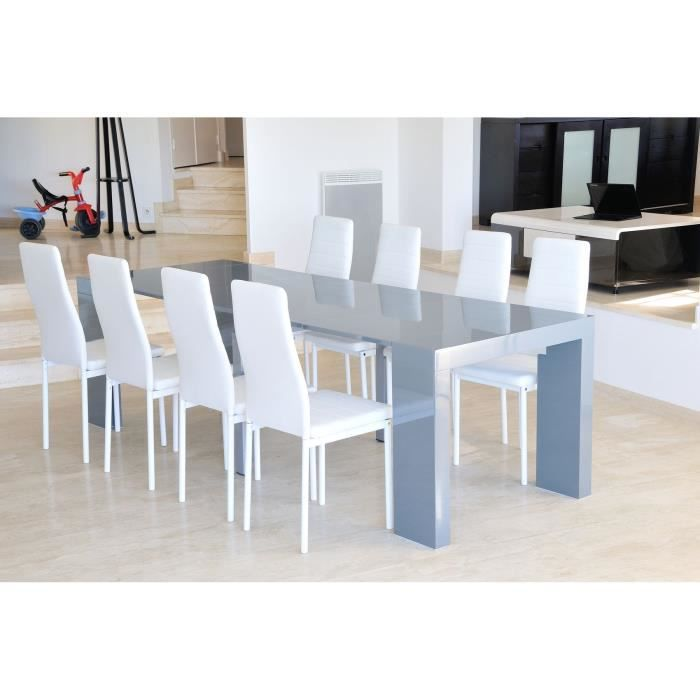 Zack table console extensible 250cm laqu e gris achat for Table console extensible grise