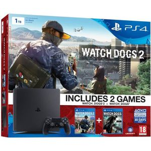 CONSOLE PS4 Nouvelle PS4 Slim 1 To Noire + Watch Dogs 2 + Watc