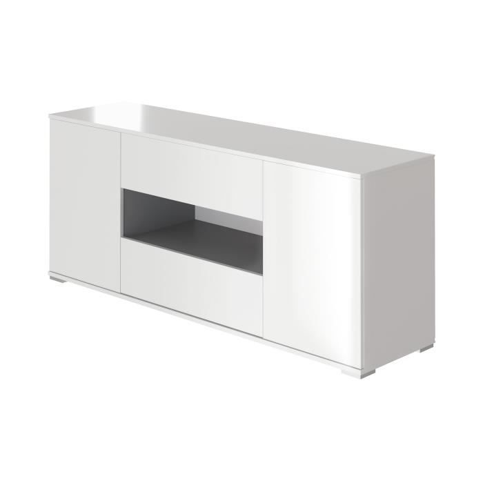Star meuble tv haut contemporain blanc brillant et gris for Meuble blanc et gris