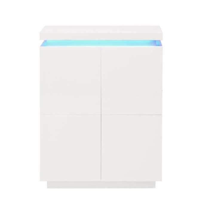 BUFFET - BAHUT  FLASH Buffet haut avec LED contemporain blanc laqu