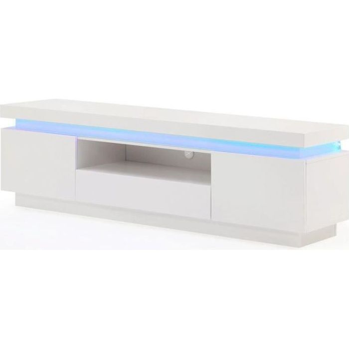 meuble tv 165cm blanc laqu avec led bleue moncornerdeco. Black Bedroom Furniture Sets. Home Design Ideas