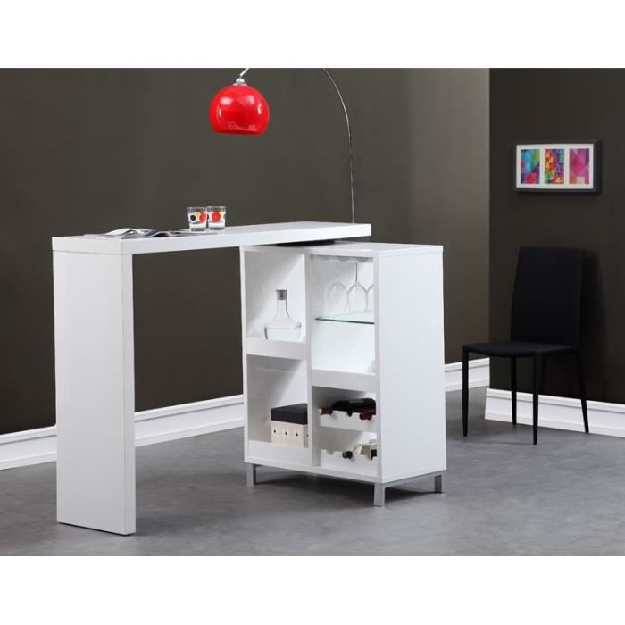Flash bar extensible blanc laqu achat vente meuble bar flash table bar - Meuble bar blanc laque ...