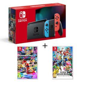 CONSOLE NINTENDO SWITCH Pack Console Nintendo Switch Néon + Super Smash Br