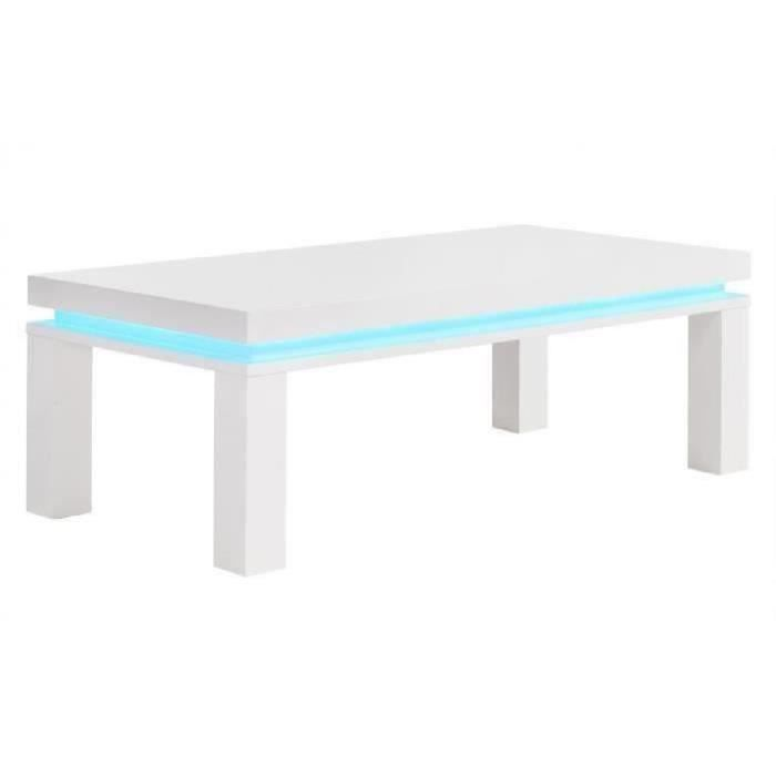 flash table basse avec led bleu 120x60 cm laqu blanc. Black Bedroom Furniture Sets. Home Design Ideas