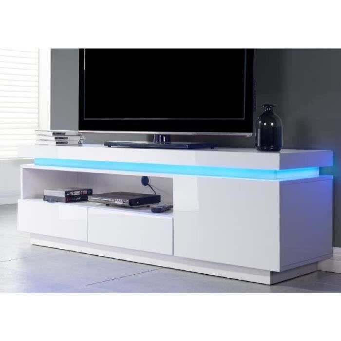 MEUBLE TV FLASH Meuble TV contemporain avec LED laqué blanc