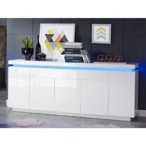 BUFFET - BAHUT  FLASH Buffet bas avec LED contemporain blanc laqué