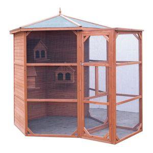 VOLIÈRE - CAGE OISEAU Volière grande taille toit bitumé 4,5m² - Pour 6-1