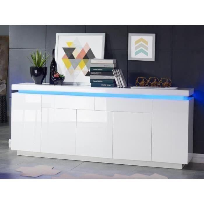 FLASH Buffet bas avec LED contemporain blanc laqué brillant - L 206 cm