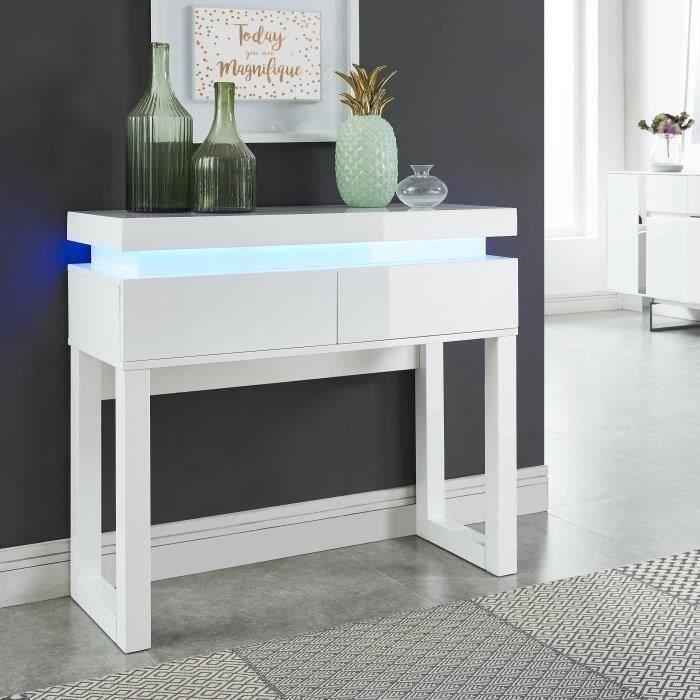 CONSOLE FLASH Console avec LED style contemporain blanc la