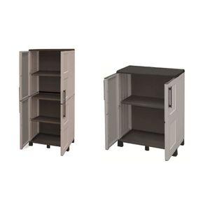 ETABLI - MEUBLE ATELIER TOOD Lot de 2 armoires haute et basse de rangement