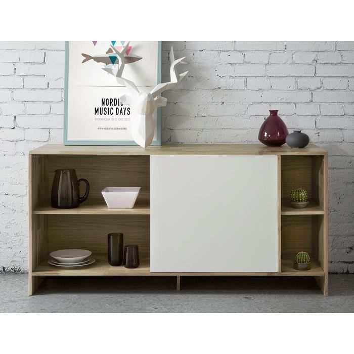factory bahut 140 cm ch ne massif blanc achat vente buffet bahut factory bahut 140 cm. Black Bedroom Furniture Sets. Home Design Ideas
