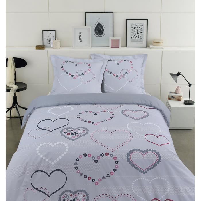 vision parure de couette valentine 100 coton 1 housse. Black Bedroom Furniture Sets. Home Design Ideas