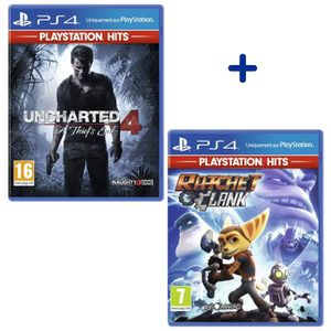 JEU PS4 Pack 2 Jeux PS4 PlayStation Hits : Uncharted 4: A
