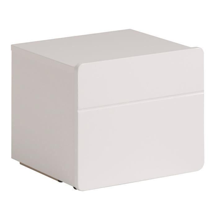 Glossy Chevet Contemporain Laqué Blanc Brillant L 40 Cm