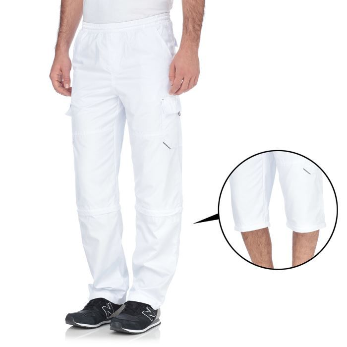 custer pantalon modulable en short homme blanc achat. Black Bedroom Furniture Sets. Home Design Ideas