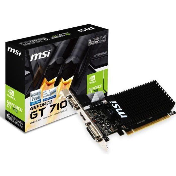 carte graphique nvidia pas cher MSI Carte graphique GeForce GT 710 2Go DDR3   Prix pas cher