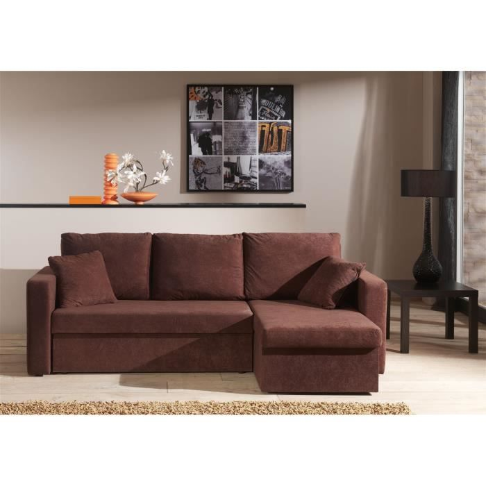 canape angle convertible microfibre chocolat. Black Bedroom Furniture Sets. Home Design Ideas