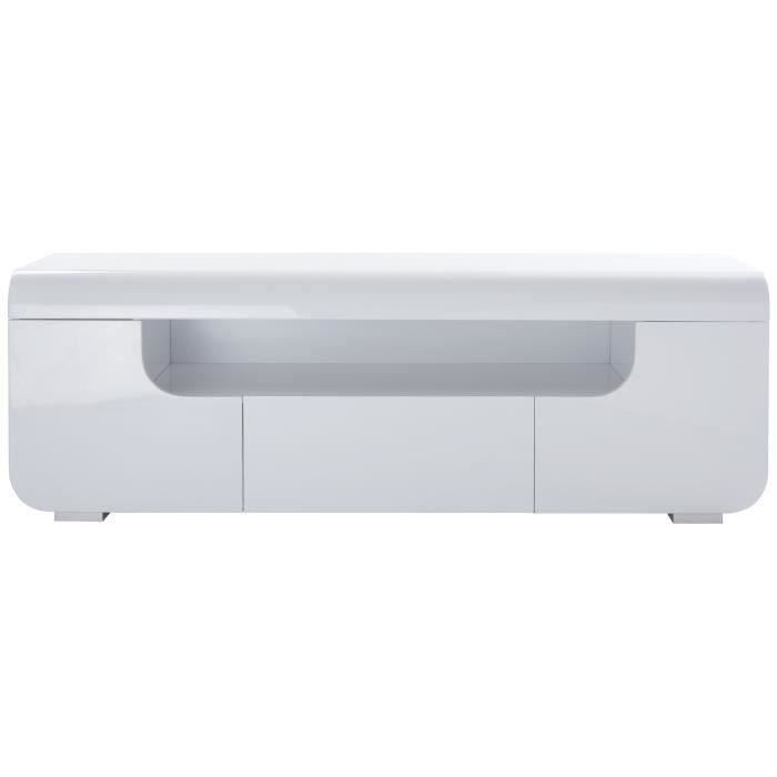 MEUBLE TV MIAMI Meuble TV avec LED contemporain laqué blanc