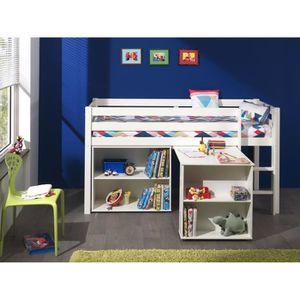 LIT MEZZANINE PINO Lit mezzanine + bureau + bibliothèque blanc