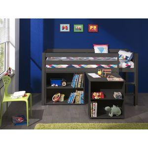 LIT MEZZANINE PINO Lit mezzanine + bureau + bibliothèque gris