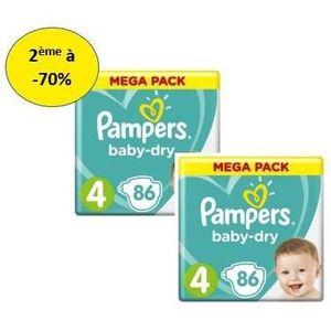 COUCHE PAMPERS Baby Dry Mega T4 X86– Lot de 2 – 2e à -70%