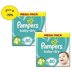 COUCHE PAMPERS Baby Dry Mega T4+ X80 – Lot de 2 – 2e à -7