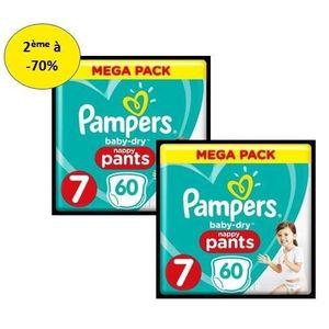 COUCHE PAMPERS Baby Dry Pants Mega T7 X60 – Lot de 2 – 2e