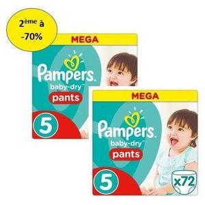 COUCHE PAMPERS Baby Dry Pants Mega T5 X72 – Lot de 2 – 2e