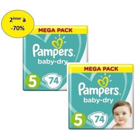 COUCHE PAMPERS Baby Dry Mega T5 X74 – Lot de 2 – 2e à -70