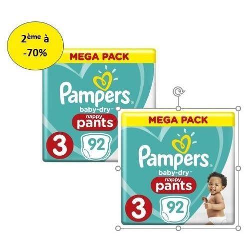 COUCHE PAMPERS Baby Dry Pants Mega T3 X 92 – Lot de 2 – 2