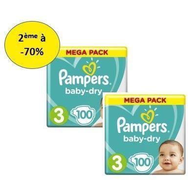 COUCHE PAMPERS Baby Dry Mega T3 X100 – Lot de 2 – 2e à -7
