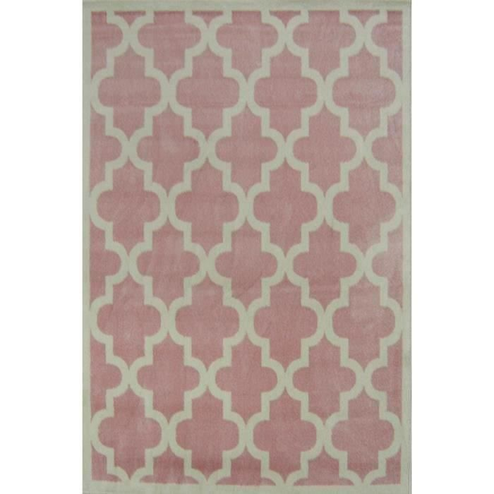 quadrilobe tapis de salon 80x150 cm rose et blanc achat. Black Bedroom Furniture Sets. Home Design Ideas