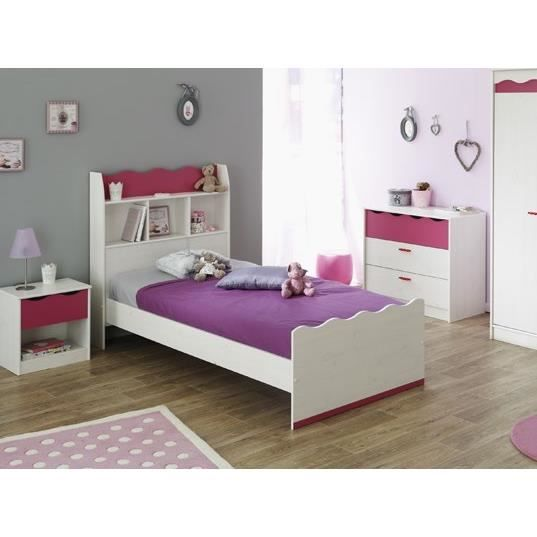 lilou lit enfant 90x200 college d cor ch ne blanc achat. Black Bedroom Furniture Sets. Home Design Ideas