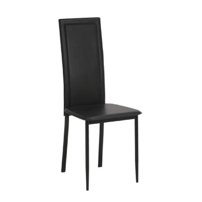 nina lot de 2 chaises de salle manger noire pi tement noir achat vente chaise noir les. Black Bedroom Furniture Sets. Home Design Ideas