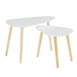 TABLE GIGOGNE LITCHI Lot de 2 tables gigognes scandinave - MDF b