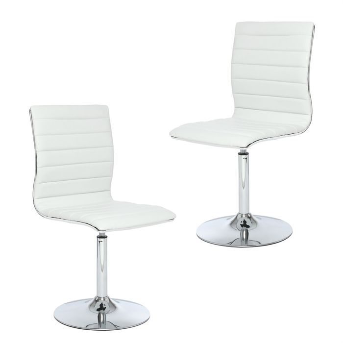 Lot de 2 chaises timid blanches simili cuir achat for Chaise simili cuir blanche