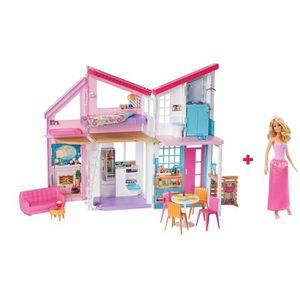 MAISON POUPÉE BARBIE Maison à Malibu repliable pour poupées, 2 é