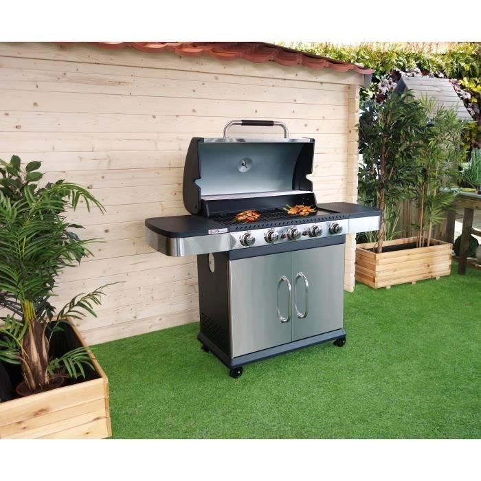 grill garden barbecue gaz 5 br leurs fonte maill e 66x39 5cm inox achat vente. Black Bedroom Furniture Sets. Home Design Ideas