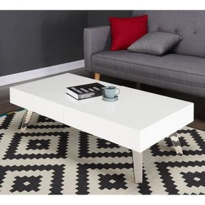 Table basse blanc laque h 40 cm achat vente table basse blanc laque h 40 - Table basse laque blanc et gris ...