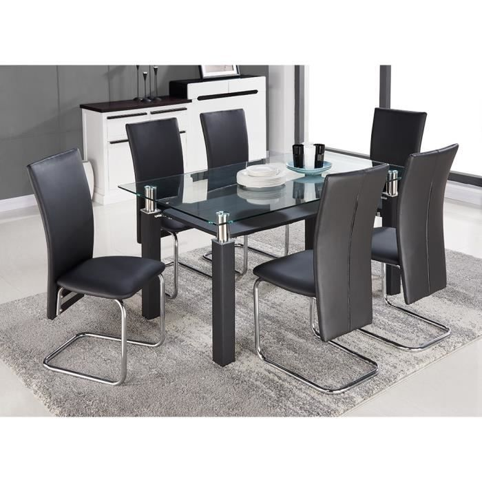 pacific ensemble table manger 6 personnes 150x90 cm 6 chaises en simili noir achat vente. Black Bedroom Furniture Sets. Home Design Ideas