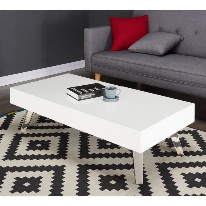 Shana table basse 120cm laqu blanc et gris brillant for Table basse gris anthracite