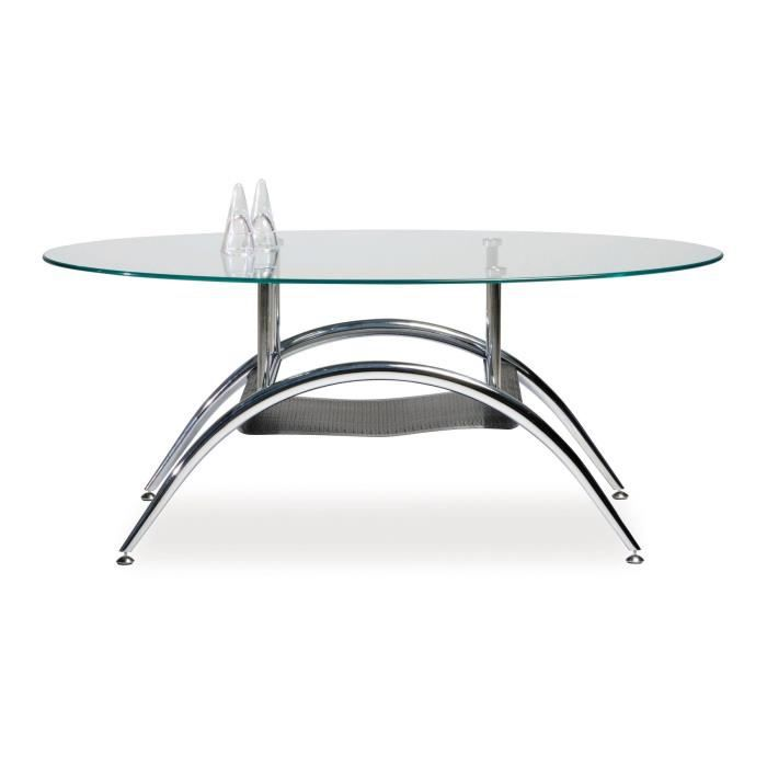 Caf pieds table basse ovale m tal chrom tag re achat for Etagere murale ovale