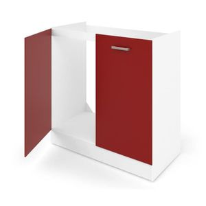 ELEMENTS BAS ULTRA Meuble bas sous évier L 80 cm rouge mat