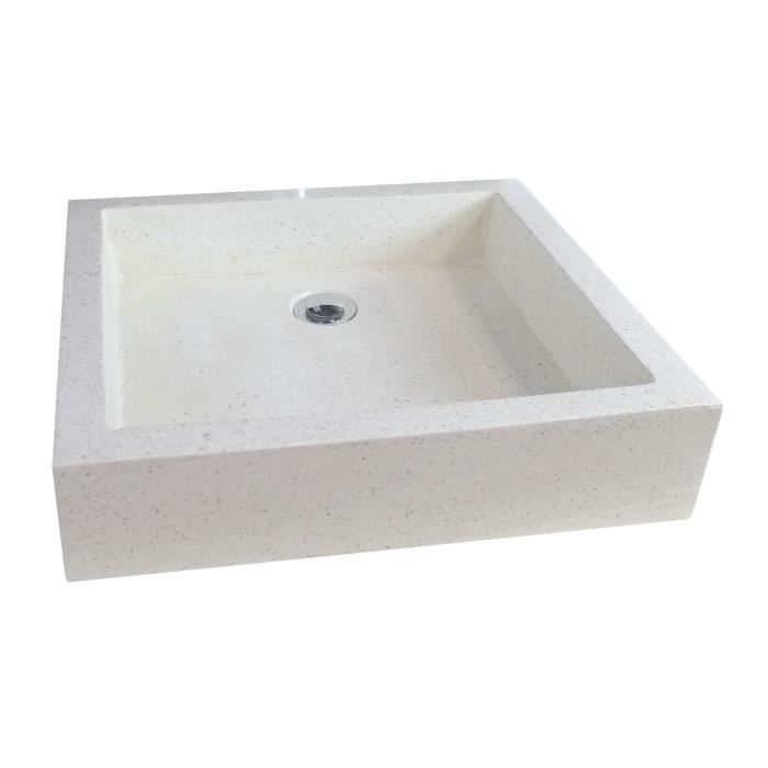 vasque en terrazzo timbre 60x40cm ton pierre achat vente lavabo vasque vasque terrazzo. Black Bedroom Furniture Sets. Home Design Ideas