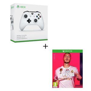 MANETTE JEUX VIDÉO Manette Xbox One Sans Fil blanche + FIFA 20 Jeu Xb