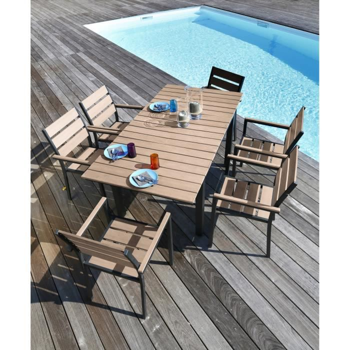 ensemble table extensible de jardin 120 180 cm 6. Black Bedroom Furniture Sets. Home Design Ideas