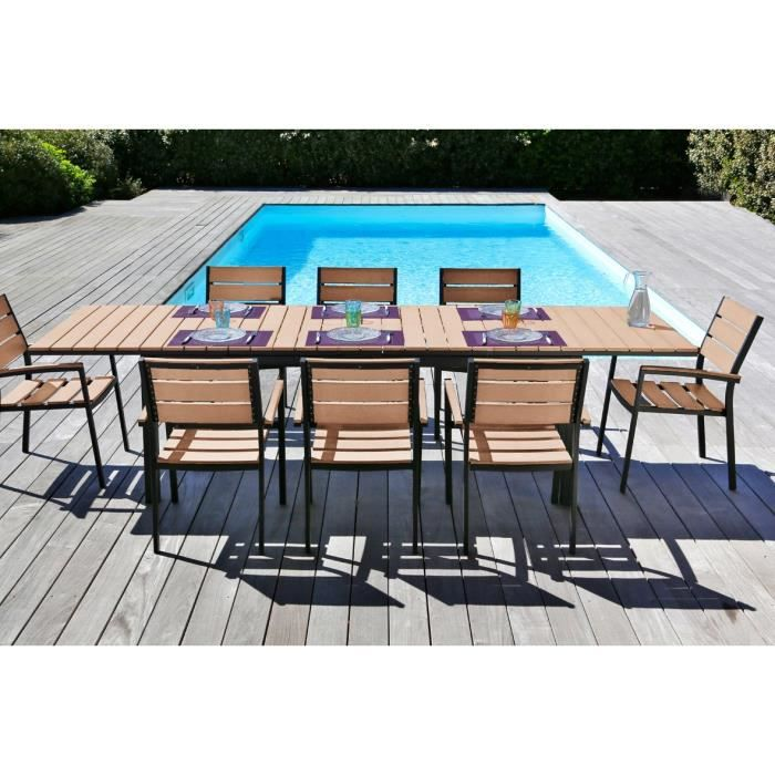 ensemble aspect bois table extensible de jardin 200 250. Black Bedroom Furniture Sets. Home Design Ideas